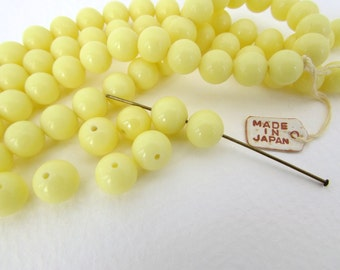 Vintage Japanese Beads Yellow Glass Rounds 8mm vgb0804 (10)