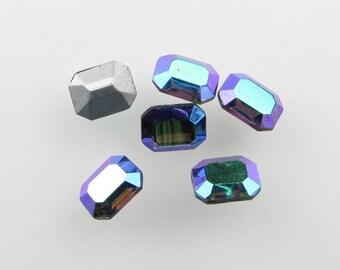 Vintage Glass Rhinestone Jewel Smoked Grey AB Octagon Aurora Borealis 10x8mm rhs0477 (6)