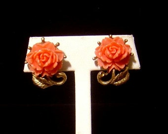 Vintage coral color molded celluloid Earrings flower