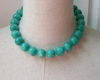 Teal  Blue Green Chunky Beaded Necklace, Statement Choker