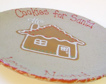 Gingerbread House Cookies for Santa Plate - Personalized Christmas Plate  - Santa Cookie Plate - Gingerbread Snack Plate - Holiday Keepsake