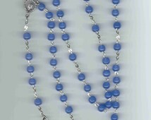 Handmade Blue Rosary w/Art Deco Crucifix