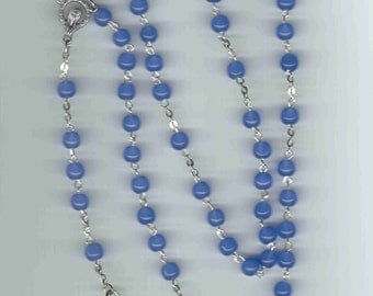 Handmade Blue Rosary w/Art Deco Crucifix