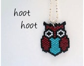Necklace - Burgundy and Turquoise Owl - Burgundy, Turquoise, White and Black - Silver plated brass chain