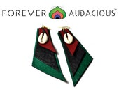 GEO BOLD - RBG  (Handcrafted Genuine Leather  Earrings) Free Gift w/ Purchase
