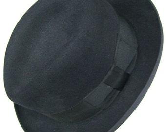 7 1/8  -  Vintage Stetson 3X Beaver Black Fur Felt Men's Fedora Hat