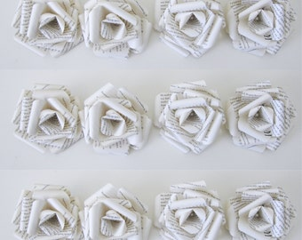 Set of 12 Ivory Book Page Embellishment Roses