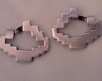 Rare DIANE LOVE for TRIFARI Silver Zig Zag Vintage Earrings