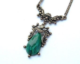Vintage Faux Malachite Stone Green Pendant Necklace