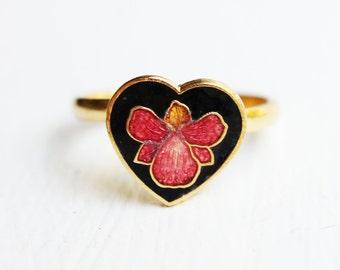 Orchid Enamel Heart Ring