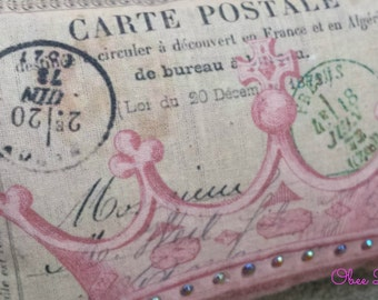 Pink Crown Tan Vintage French Postcard Sachet with Rhinestone Embellishement and Pink French Postage Stamp