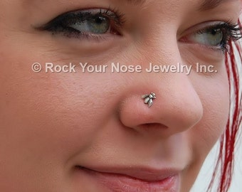 Sterling Silver Little Bee Insect Nose Stud - CUSTOMIZE