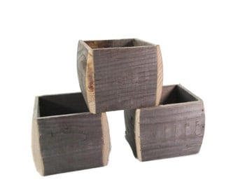 Reclaimed Wood Box - 3 piece set -  Rustic Home and Garden Decor