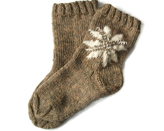 Hand knitted very thick lithuanian wool socks Made to order brown purple white