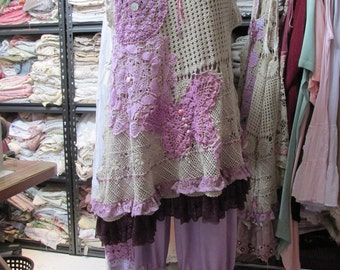 Vintage Kitty..  plum, pink, lilac, ecru combo tunic and linen bloomers,  lace, doilies.crochet, roses,shabby chic hand dyed, Med/large