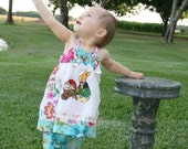 Spring Garden Sundress Easter with Vintage Hanky Hankie and Matching Ruffled Bloomers