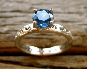 Blue Ceylon Sapphire Engagement Ring in Palladium with Vintage Inspired Scroll Pattern Size 5