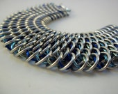 Dragonscale Chainmail Bracelet Water Elemental Shades of Blue, Unique and Industrial Chainmaille Bracelet