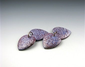 Enameled Etched Hearts /  Nitric Blue Enamel / Made to Order