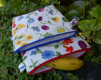 Floral waxed cotton swim wet lunch snack lunch baby bag pouch, zippered, from Finland, 8x8""