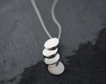 Sequins galore vertical multi silver disc necklace