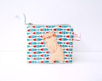 Cute Cat Pouch, Cute Coin Purse, Cat Zipper Pouch, Pouch, Cat Purse, Zipper Coin Purse, Coin Purse - Cat Lover Gift