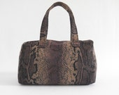 Structured doctor's bag small handbag purse snake print python print zipped lined handmade