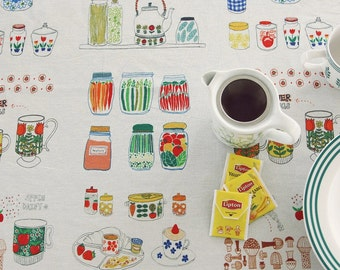 Home Decor Linen - Nordic Shabby Chic Grandma's Kitchen Cooking Decoration Floral Zakka Fabric(1 Panel, 17x55 inches)