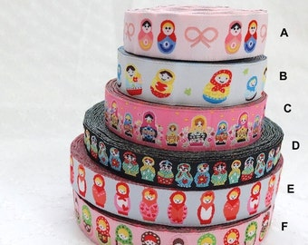 1 Yard Embroidery Sewing Ribbon/Trim - Multi Color Matryoshka Nesting Babushka Russian Dolls Collection