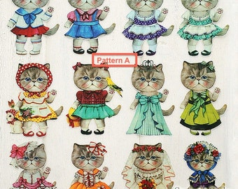 Offset Printing Iron On Transfer - Shabby Chic Fairy Tale Cats Collection, Big (1 Sheet)