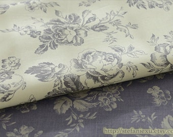 French Style Vintage Romantic Rose Flower Garden, Choose Color - Cotton Fabric(Fat Quarter)