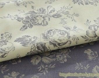 French Style Vintage Romantic Rose Flower Garden, Choose Color - Cotton Fabric(Fat Quarter)