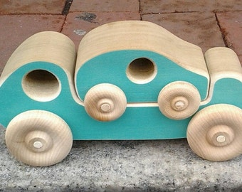 Wooden Toy Truck with nesting Wood Car