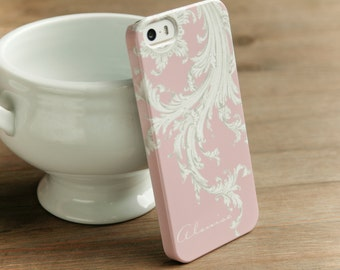 Pretty iPhone 6 Case Pink, Galaxy S6 Elegant Flourish, iPhone 6 Plus Cover,  Cases iPhone 5S Case White and Pink