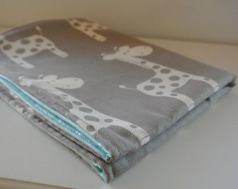 Changing Pad - Waterproof and Washable Mat - Giraffe Grey with Tiffany  or Pink PUL