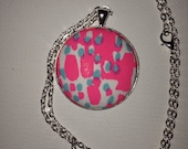 """Preppy Lilly Pulitzer """"Let's Cha Cha"""" patterned pendant and matching 24 inch Chain"""