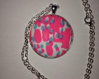 Preppy Statement Necklace, Pendant, Round Pendant, Coverbutton Pendant, Fabric Pendant Necklace, Preppy Pendant, Preppy Inspired Jewelry.