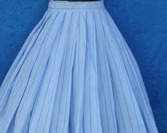 Vintage 50s 1950s Blue Gingham Checks Full Pleated Rockabilly Skirt XS