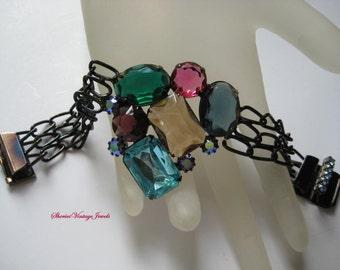 Glitzy Rhinestone Bracelet Vintage Roz Kaplan Large Stones  Colorful