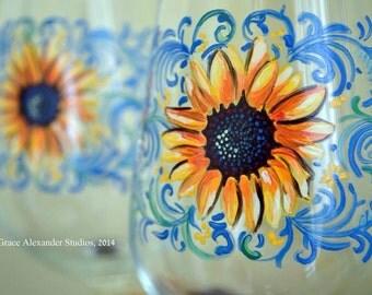 Elegant Hand Painted Wine Yellow Orange Sunflower 20oz White Wine Stemmed Glassware Personalization Available