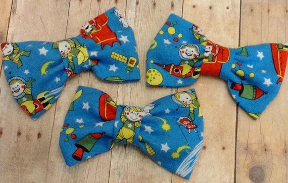 Space kids fabric hair bow girls hairbow bow tie by for Kids space fabric
