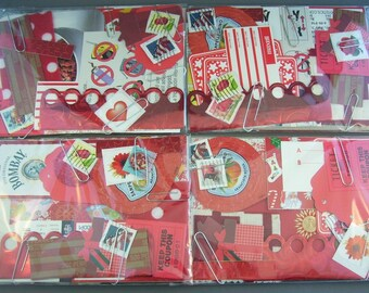 Red Papercraft Scrap Pack Creativity Kit  // Scrapbooking, Cardmaking, Collage, and Art Journaling Supplies // Paper Destash