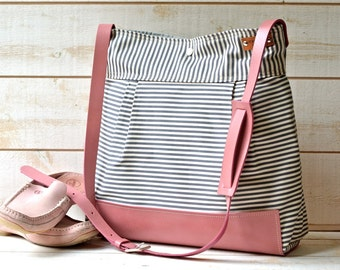 BEST SELLER Diaper bag / Messenger bag WaterProof Gray  geometric nautical striped Pink Leather strap and Leather Pad