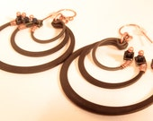 Steampunk Style Wire-wrapped Steel and Copper Concentric Rings Earrings-OOAK & Ready to Ship!