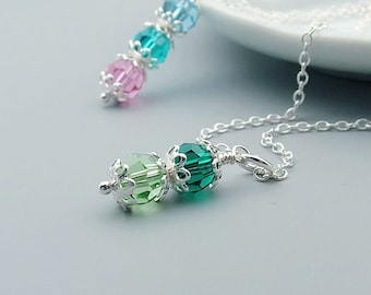 Mother's Necklace, Crystal Birthstone, Sterling Silver, mom necklace, mothers day, grandma jewelry