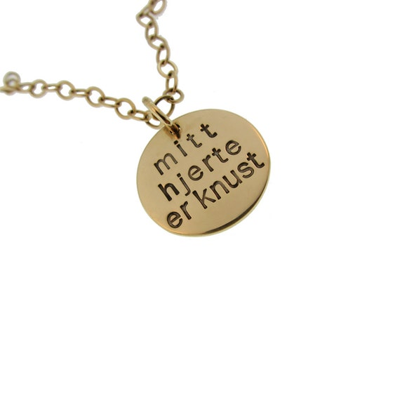 Gold Jewelry Custom 14K Hand Stamped Language Charm Necklace Personalized Engraved Artisan Handmade Fine Designer Fashion Valentines Jewelry