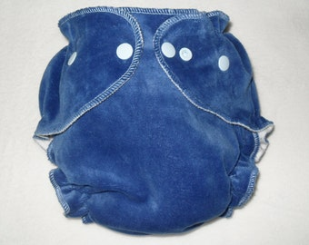 Blue cotton velour/zorb fitted diaper