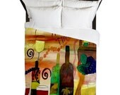 Wine Time Duvet Cover from my art. Available in twin,queen and king sizes