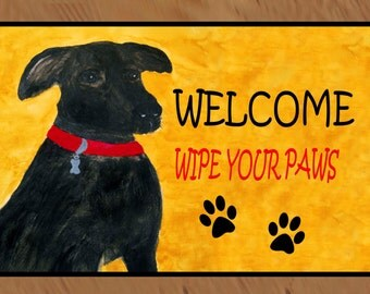 Stormy Rescue Dog Welcome indoor-outdoor Floor Mat, available in 3 sizes