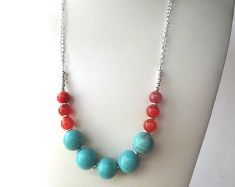 Orange agate turquoise long bead chain necklace,  color block necklace, agate round beads and turquoise blue magnesite gemstone beads